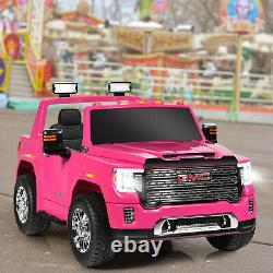 12V 2-Seater Licensed GMC Kids Ride On Truck RC Electric Car withStorage Box Pink