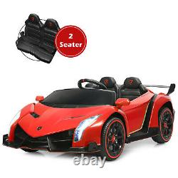 12V 2-Seater Licensed Lamborghini Kids Ride On Car with RC & Swing Function Red