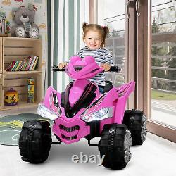 12V Battery Electric Ride On Quad Kids Toy Cars ATV With 2 Speeds ASTM F963, Pink