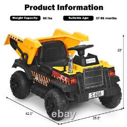 12V Battery Kids Ride On Dump Truck RC Construction Tractor with Electric Bucket