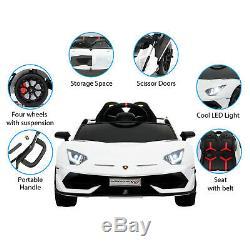 12V Battery Powered Electric Kids Ride On Car Lamborghini Aventador SVJ White