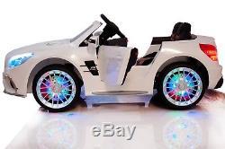 12V Battery Ride On Toy Car Mercedes SL65 RC Music Horn Sound LED Screen White