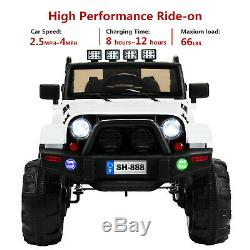 12V Electric Battery Kids Ride on Car Truck Jeep LED MP3 with Remote Control White