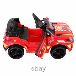 12V Electric Fire Truck Kids Ride On Car SUV Toy RC Car withRemote Siren Music Red