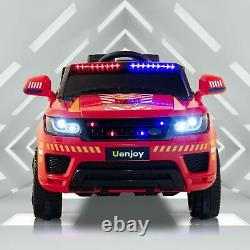 12V Electric Kids Fire Fighter Ride On SUV Car Remote Control LED&Music&Horn Red