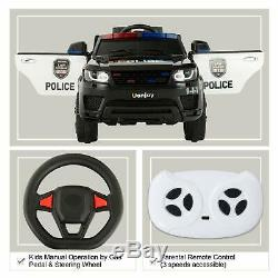 12V Electric Kids Police Ride On SUV Toy Car Remote Control LED&Music&Horn Black