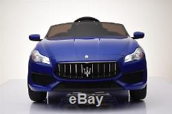 12V Electric Kids RC Ride On Car with Radio & Remote. Maserati Quattroporte Blue
