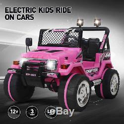 12V Electric Kids Ride On Cars Powered Jeep Toys LED Lights WithRemote Control