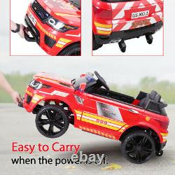 12V Electric Kids Ride On Police Car SUV Toys RC Car with Remote & Music Red