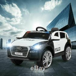 12V Electric Kids Ride On SUV Police Car With Remote LED Light Music Black