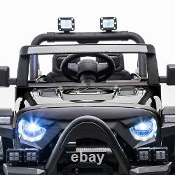 12V Electric Kids Ride On Toy Battery Powered Off-Road Truck With LED Lights Black
