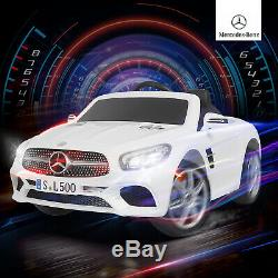 12V Electric Kids Ride On Toys Cars Mercedes Benz SL500 6 Speeds With RC White