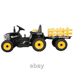12V Electric Kids Ride On Tractor Battery Powered Toy with Trailer LED Lights