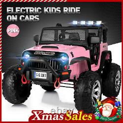 12V Electric Kids Ride on Car Remote Control Large Truck Battery LED Music Pink