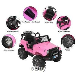 12V Electric Kids Ride on Car Toys Jeep Truck LED Music + Remote Control Pink