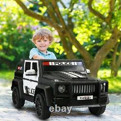 12V Electric Police Kids Ride On Car Toy SUV Truck withLights Remote Control Black