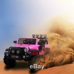 12V Electric Ride On Car Kids Jeep Toys Wheel Lights Music Remote Control Pink