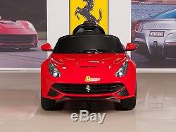 12V Ferrari Kids Ride On Car with Remote RC, Mat & Keychain, Red F12