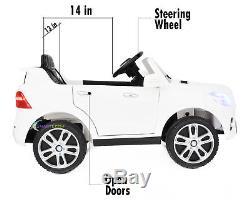 12V Kids Car Licensed Ride On Mercedes ML350 Remote Control MP3 Lights White
