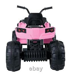 12V Kids Electric ATV Ride On Toy Car Battery with 2 Speed, LED Light, Sound, PINK