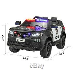 12V Kids Electric Police Car Ride On Car SUV Truck Toys with Remote Control Horn