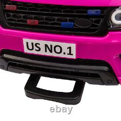 12V Kids Electric Police Car Ride On Car SUV Truck Toys with Remote Control Pink