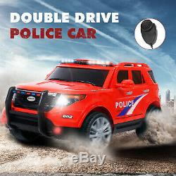 12V Kids Police Car Ride on SUV Cars Electric Light Sirens USB AUX Red