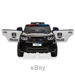 12V Kids Police Ride On SUV Car Toys 3 Speed, Light, Music, Remote Control