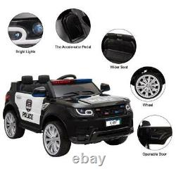 12V Kids Police Ride-On SUV Car Toys with 3 Speeds, Lights, AUX, Sirens, Remote