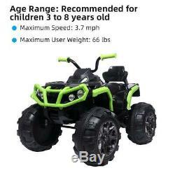 12V Kids Ride On ATV Car Quad 4 Wheels Suspension Electric Toy With Led Lights