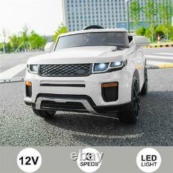 12V Kids Ride On Car 2.4GHZ Remote Control Jeep Car LED Lights White