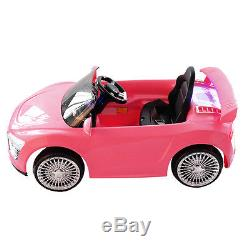 12V Kids Ride On Car Audi R8 Style Remote Control RC Bright Lights -Pink