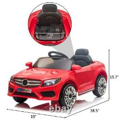 12V Kids Ride On Car Electric Car WithMP3 LED Lights Toy Gift Remote Control Red