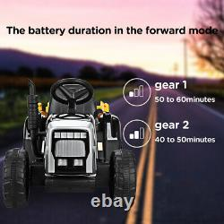 12V Kids Ride On Car Electric Tractor Battery Powered Toy with Trailer LED Lights