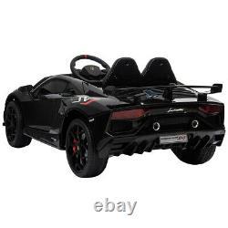 12V Kids Ride On Car Licensed Lamborghini SVJ RC with Trunk Music Black