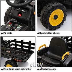 12V Kids Ride On Car Toy Tractor WithTrailer Powered Battery Vehicle Toy withMusic