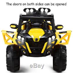 12V Kids Ride On Racing Off Road Truck Car Remote Control withLED Light MP3 Yellow