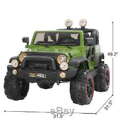 12V Kids Ride On Toy Car with Remote Control, 4 Speed, LED Light, MP3 Green