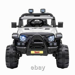 12V Kids Ride On Toy Electric Battery Powered Off-Road Truck With LED Lights White