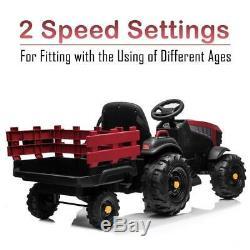 12V Kids Ride On Tractor Car Farm Truck Battery Power Music Safe Belt Trailer