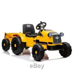 12V Kids Ride On Tractor Car Toys Light Music Trailer 3 Speeds Remote Control