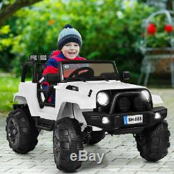 12V Kids Ride On Truck Car withBluetooth Remote Control MP3 Music LED Lights White