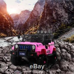 12V Kids Ride on Car Jeep Wrangler Toys Electric Battery with Remote Control Pink