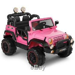 12V Kids Ride on Car Toys Truck MP3 LED Lights WithRemote Control 3 Speed Pink