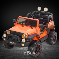 12V Kids Ride on Cars Electric Battery Power Remote Control 2 Speed Jeep Orange