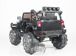 12V Kids Ride on Jeep Truck Car RC Remote Control Lights mp3 AUX and Music Black