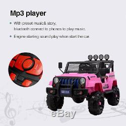 12V Kids Ride on Toy Car Jeep Wrangler Electric Battery with Remote Control Pink