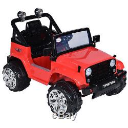 12V Kids Ride on Truck Jeep Car RC Remote Control with LED Lights Music MP3 Red