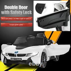 12V Licensed BMW I8 Kids Ride On Car with 2.4G Remote Control MP3 LED Lights White