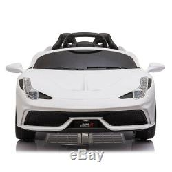 12V Luxury Kids Ride on Super Sports Car Electric Battery Remote Control White
